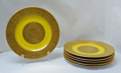 "Lot/Set of Six(6) 10.75""  BLACK KNIGHT Dinner PLATEs Yellow ENCRUSTED w GOLD"