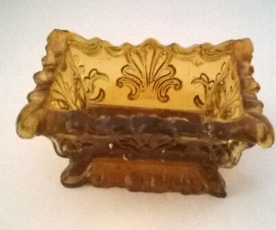 Very Rare Light Amber Neal SL 1a Lacy Open salt cellar Extremely good condition