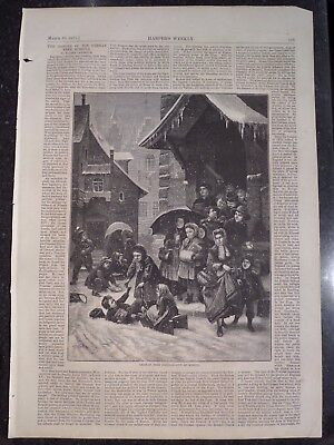 German Free School Out for the Day Harper's Weekly 1872 Original Print