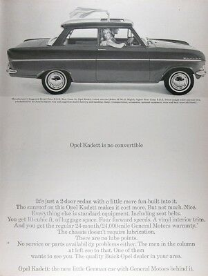 1964 OPEL KADETT SUNROOF SEDAN Genuine Vintage Advertisement ~ MSRP $1,796.35