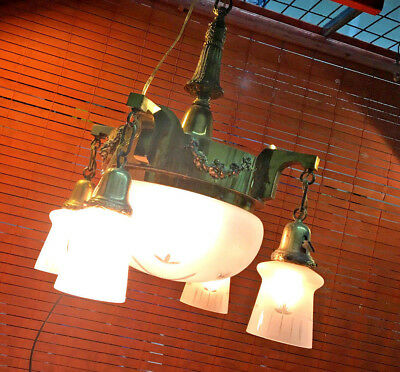 Antique etch glass 4 arm pan light solid brass chandelier fixture rewired clean
