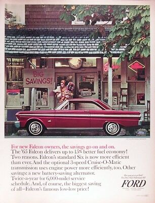 1965 FORD FALCON COUPE Genuine Vintage Advertisement ~ 3-Speed Six