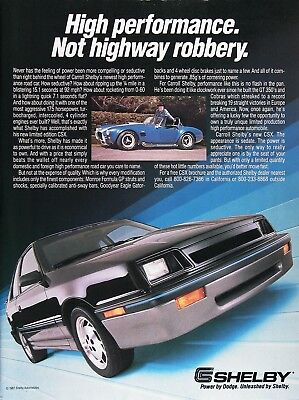 1987 SHELBY CSX Genuine Vintage Advertisement ~ LIMITED EDITION