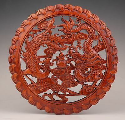 Chinese Wood Decorative Painting Hand-Carved Dragon Phoenix Sacred Wall