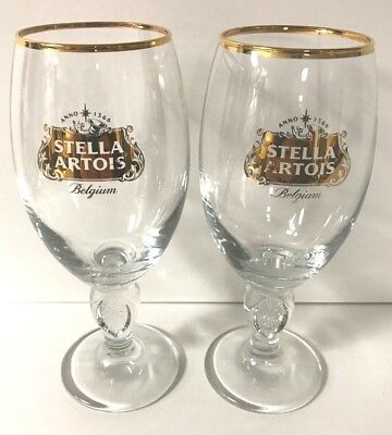 Stella Artois 33 cl Glass Chalice Gold Star Limited Edition ~Two (2)  New & F/S