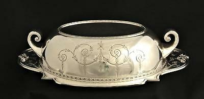 Vintage Silver Plate Georgin Design Entree Buffet Serving Dish And Base