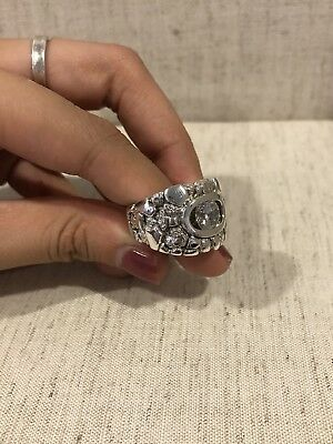 .925 Sterling Silver Men's Old School Vintage White Stone Nugget Ring Sz 9.5