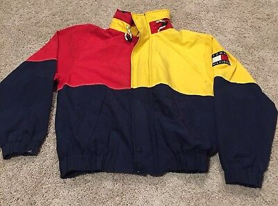 TOMMY HILFIGER Vintage Men's Red Navy Blue Yellow Spell Out Jacket Hood 1990s S