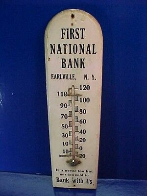 1930s 1st NATIONAL BANK of EARLVILLE NY Wood ADVERTISING Wall THERMOMETER