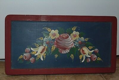 Beautiful Hand Painted Flower Wooden Plaque with Several Minor Nicks