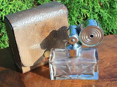 Vintage Marcel Franck Atomizer Perfume French Baccarat Crystal W/ Leather Case !