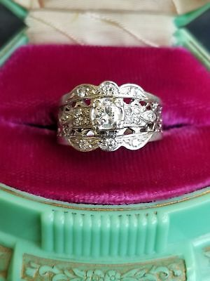 Antique Art Deco Scalloped VS2 H Diamond 14k Wide Vintage Engagement Estate Ring