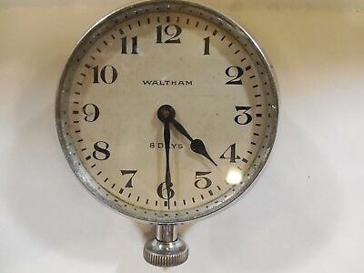 Vintage Waltham 8 Days, Manual Wind Clock with Chrome Bezel for Cars or Travel