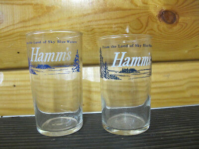 Hamm's Beer Sample Glasses-Blue Pine Tree-From The Land Of Sky Blue Waters