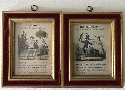 Antique English Language Pronoun&Interjections Framed Small Engraved Prints Pair