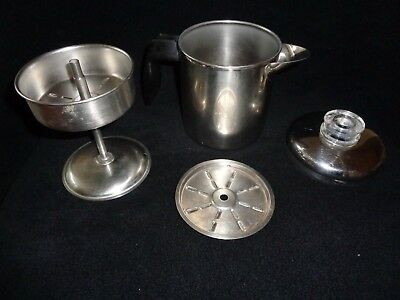 Vintage FARBERWARE Stainless Steel Stove Top Percolator Coffee Pot 4 cup ~RARE