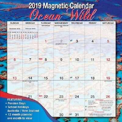 Bartel 2019 Magnetic Wall Calendar, Ocean Wild, Postage Included