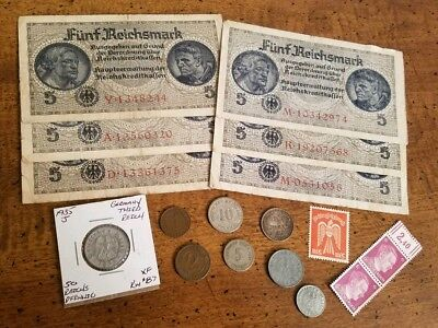 OLD REICH SILVER w/ WW2 RARE BANKNOTES / COINS - 18pc LOT! - WWII Collection!
