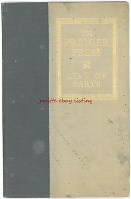 Whitlock Premier Printing Press - c. 1915 - Illustrated Book of Parts List