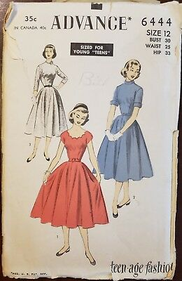 Vintage 1950s Advance (#6444) Teens' Dress Pattern--Free Resizing Tutorial!