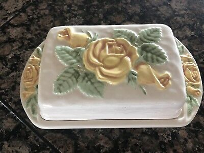 Vintage Ceramic 1979 Covered Soap Dish With Drip tray Floral