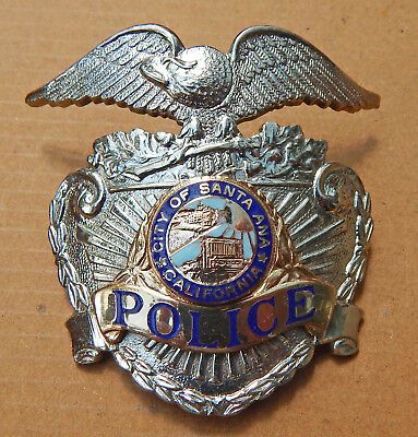 OBSOLETE City of SANTA ANA California Police Patrolman's Hat Badge