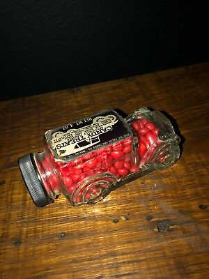 Antique Vintage glass car candy container w lid label Country Store Collectible
