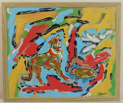 "Vintage Oil Painting on Canvas Abstract Barking Dog Signed R. Monti (22"" x 26"")"