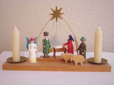Vintage Miniature German Wooden Nativity Display with Candles Christmas Decor