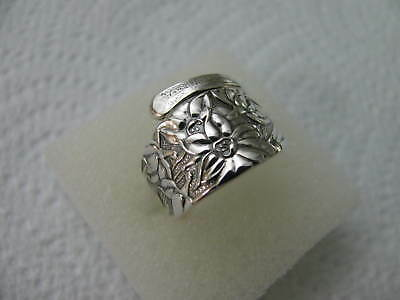 Sterling Silver spoon RING s 5 1/4 NARCISSUS Floral Flower Jewelry # 6143