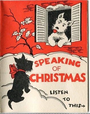 vtg mid century black and white scottie dogs christmas new year card fold out