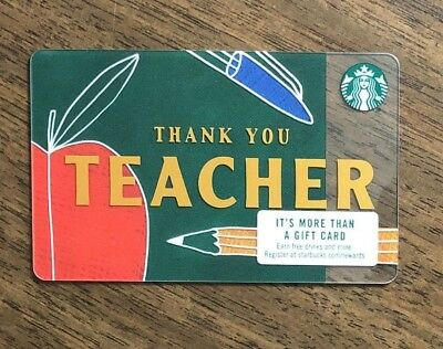 "Starbucks Gift Card 2017 ""Thank You Teacher"" Apple Pen Cheer Holiday No $ Value"