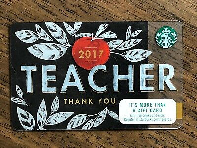 "Starbucks Gift Card 2017 ""Teacher Thank You"" Apple Leaf Cheer Holiday No $ Value"