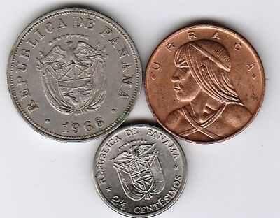 3 different world coins from PANAMA