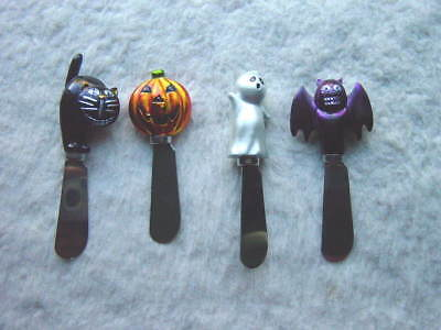 Lot of 4 Halloween Party Cheese Butter Spreaders Bat Pumpkin Ghost Black Cat