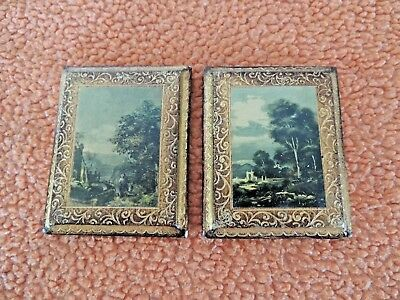 Vintage Italian Florentine Wood Picture Frame Antique Country SceneTrees Italy