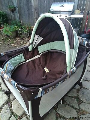 Graco Pack N Play Replacement Clip On Mesh Bassinet Insert w/ Poles brown