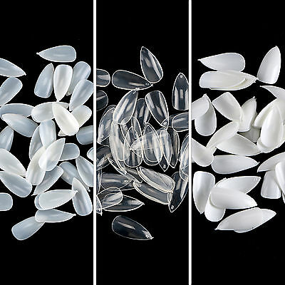 White /Natural/ Clear Color Almond Oval Stiletto Shape False Nail Tips CHOOSE