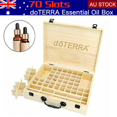 AU!! 70 Slot Aromatherapy Essential Oil Storage Box Wooden Case Container Holder