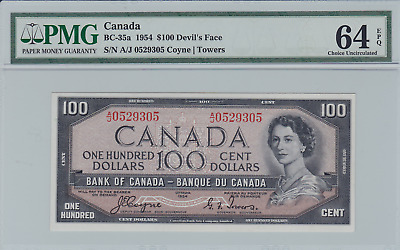 CANADA : Bank of Canada $100 Devil's Face 1954 BC-35a PMG 64 Choice Unc EPQ