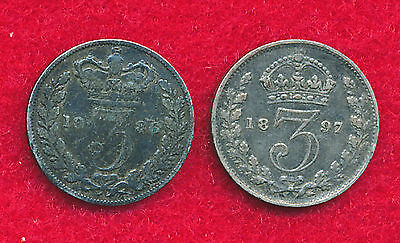 Great Britain 1886 & 1897 3 PENCE (2 Coins)  Silver