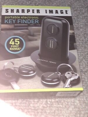 THE SHARPER IMAGE Portable Electronic Key Finder 45 Ft Range, 2 FOBS, MSRP $30