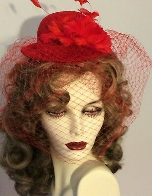 MINI BOWLER  FASCINATOR by Something Special  in  RED