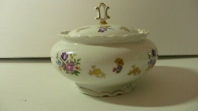 German Scalloped Edge Fine China Candy Dish Bowl With Lid Marked R Floral Design
