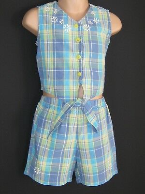 LAURA ASHLEY VINTAGE MOTHER&CHILD TARTAN CHECK TOP & SHORTS TWO-PIECE, 2-3 Yrs