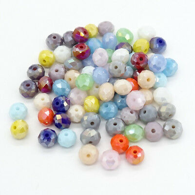 Mixed AB Lots Rondelle Faceted Crystal Glass Loose Beads Spacer beads 4mm6mm8mm