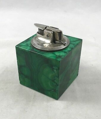 Vintage Ronson Malachite Table Lighter; Made In France