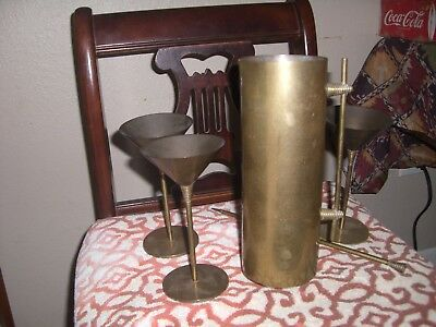 Barware > Retro Martini Bar Piece > Custom Solid Brass Set Lot > Vintage >
