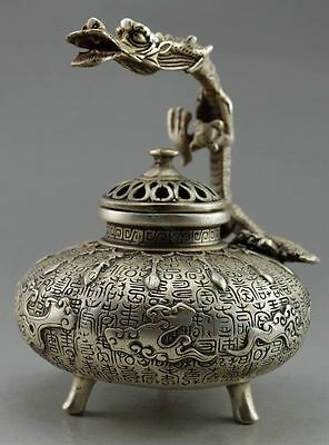 Collectible Superb Old China Handwork Tibet Silver Carved Dragon Incense Burner