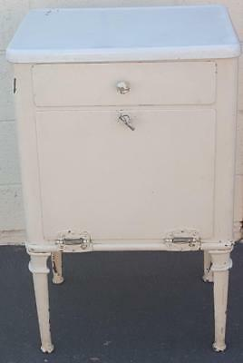 Antique Solid Steel Enameled Bathroom Cabinet - White - VGC - FABULOUS PIECE
